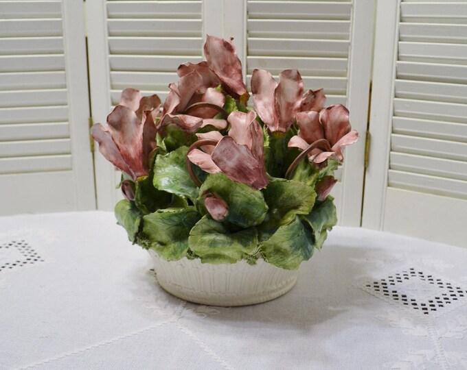 Vintage Meiselman Imports Porcelain Flower Basket Centerpiece Cyclamen Made in Italy Capodimonte Style PanchosPorch