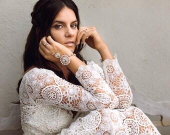 Zelda Hand Chain Bracelet Slave Bracelet Wedding Jewelry Wedding Bracelet Hand Bracelet Hand jewelry Boho Ring Bracelet Bohemian Bride