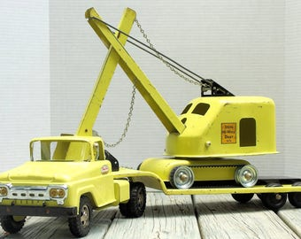 Vintage Tonka 1960 Truck with 1958 Steam Shovel and Lowboy Trailer