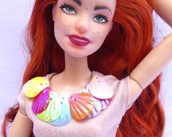 """Ooak barbie doll """"SEAPUNK"""" RED HAIR"""
