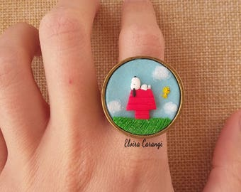 Peanuts ring Charlie Brown, Lucy, Snoopy, Linus, cartoons, polymer clay