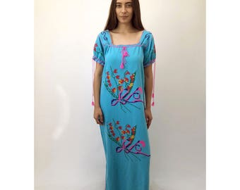 Yucatan Dress // vintage 70s Mexican embroidered maxi dress 1970s boho hippie cotton hippy turquoise floral tunic needlepoint // O/S