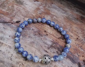 Sodalite beaded gemstone strech bracelet