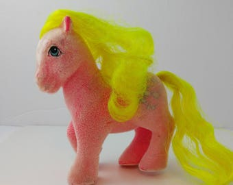 My Little Pony So Soft Shady G1 Flocked Toy Figure Hasbro 1980s Neon