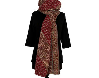 KANTHA SCARF - Red and Beige. Reverse Black, Purple and Beige - Unique, one of a kind