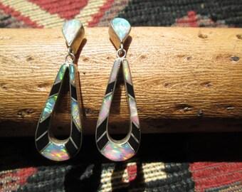 Opal, Onyx and Sterling Post Dangle Earrings