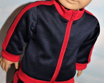 18 Inch Doll (like American Girl) Navy Blue & Red Side Stripe and American Flag Sporty Zip Front Track Suit