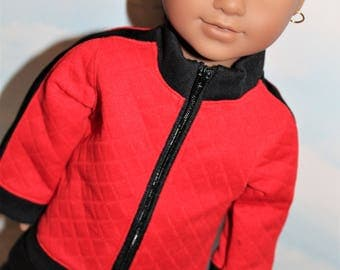 18 Inch Doll (like American Girl) Red & Black Side Stripe Sporty Zip Front Track Suit