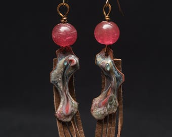 Fringe Element, assemblage earrings made of rustic enamel on copper, antique glass beads and hand-cut leather fringe elements on 14KGF wires