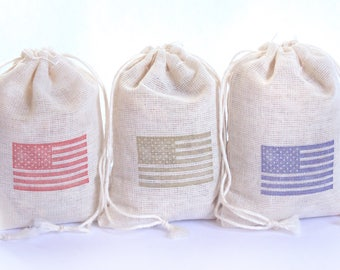 American Flag Bag Set 15 with stamp gift sack 4th July Memorial Day goodies treat bag