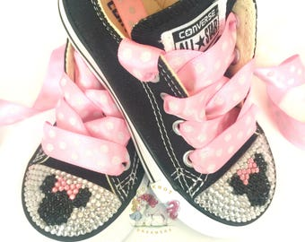 Minnie Mouse Toddler Converse Bling Shoes, Pink Disney Inspired Rhinestone Converse, Personalized Converse, Baby & Adult Custom Bling Shoes
