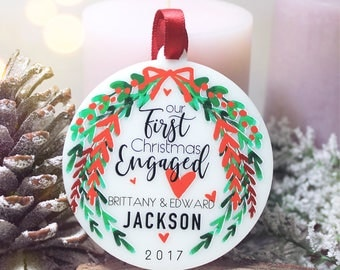 Our First Christmas Engaged Ornament Personalized Christmas Ornament She Said Yes Engagement Gift Holiday Engagement Custom Ornament #012