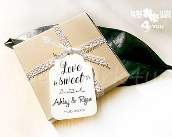 """24 Love is Sweet Tag_Custom Wedding Tags 3.35x2"""" _Love is sweet Bridal Favor Tags_ Personalized Tag_Placecard_ Wish Tree Tag_ Rustic Wedding"""