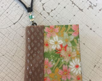 One of a Kind - Hand Bound Japanese Bright Floral Chiyogami and Hard Cover Book Journal Pendant Necklace - It is a REAL miniature book!