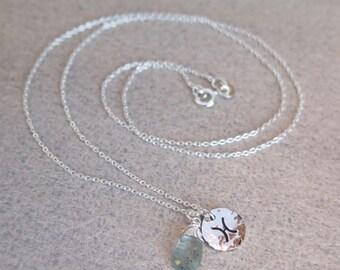 Pisces Necklace | Sterling Silver | Aquamarine Pisces | Zodiac Necklace
