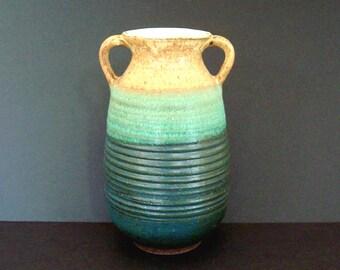 Turquoise urn vase, unique ceramic vase, handmade ceramics, blue ceramic vase, green vase