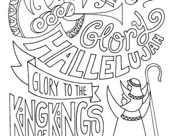 Glory Hallelujah Shepherd Dad Christmas Coloring Page Angels Kids Holiday Slugs And