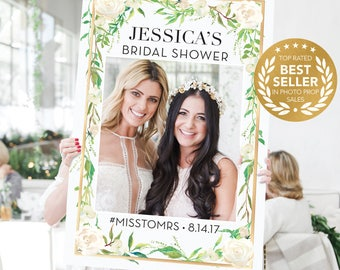 Bridal Shower Photo Prop - Wedding Photo Props - Graceful Greens - Gold - Greenery Photo Prop Frame - DIGITAL FILE Printed Option Available