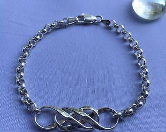 Mobius Silver DOUBLE INFINITY Rolo Bracelet, Double Infinity Bracelet, Silver Infinity Bracelet, Women's Infinity Bracelet, Love Bracelet
