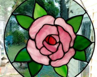 Stained Glass Rose Circle Panel, Tiffany Technique with Black Patina