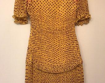 UNGARO Parallele Paris Dress Polka Dot Orange Purple Pleated 80's XS Sheath
