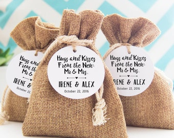 Hugs and Kisses Tags, Wedding Gift Tags, 24 Custom Name Wedding Tags, Thank You Favor Tags, Personalized Tags