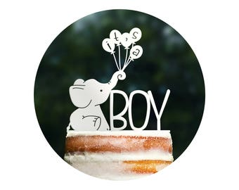 Cute Its A Boy Cake Topper, Elephant Baby Shower, Elephant Cake Topper, It's a Boy Sign, Baby Sprinkle Decor, Gender Reveal Topper (T397)