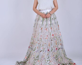 White Floral Embroidery Long Skirt / High Waist Maxi Event Party Tulle Skirt / Fashion Wedding Bridesmaid Dresses