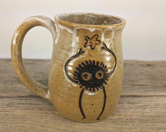 Speckled White Soot Sprite with Snack Mug - 16 oz - Wheel Thrown Hand Carved Studio Ghibli Coffee Cup