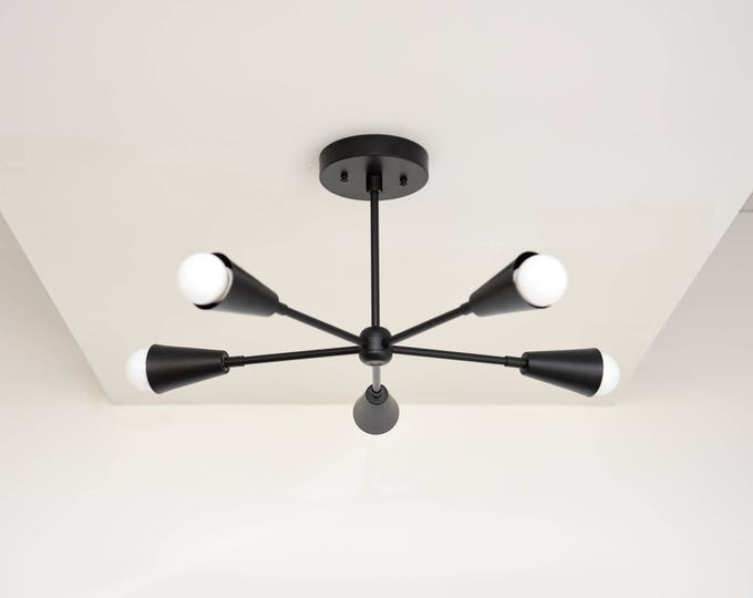 Free Shipping! Modern Chandelier Matte Black Five 5 Arm Pinwheel With Cone Covers Bulb Sputnik Mid Century SemiFlush Hanging Light UL Listed