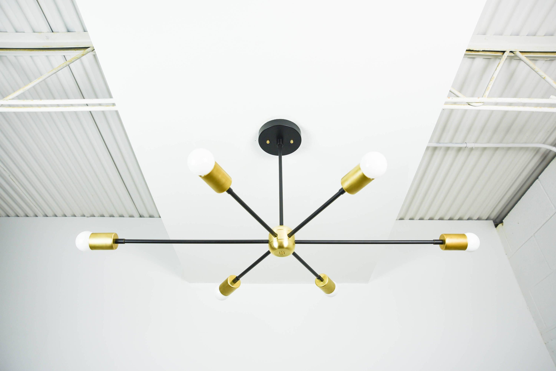 36 Modern Black & Brass Gold Starburst Chandelier 6 Arm