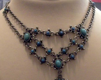Vintage Avon (?) Faux Turquoise Lavalier Type Necklace and Earring Set Signed NR