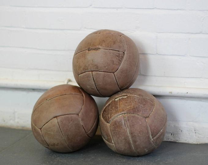 Czech Leather Medicine Balls Circa 1930s