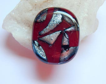 Ruby Shadows Fused Glass Cabochon - Red Fused Glass - Dichroic Glass