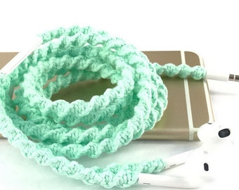 Apple iPhone 7 Lightning EarPods, Macrame Wrapped No Tangle Free Earbuds, Unique Gift for High School College University Student from Mom