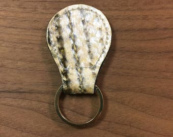 Striped bass fish-leather key fob