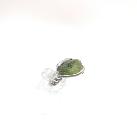 Rough Tourmaline Ring   Sterling Silver Ring Sz 6.5    Raw Green Tourmaline Ring   Uncut Gemstone Ring   Green Tourmaline Jewelry