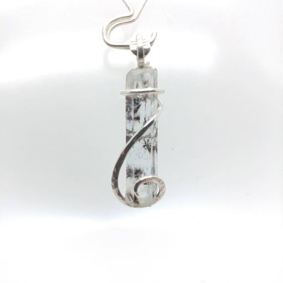 Raw Aquamarine Pendant | Raw Crystal Necklace | Sterling Silver Pendant | Aquamarine Crystal | March Birthstone Jewelry | Blue Crystal