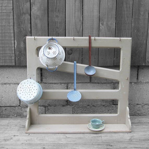 Kitchen Pot Wall Rack Antique French Pine