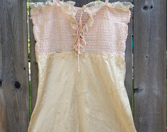Vintage Silk and Lace Nightdress,Blush Slip,Underskirt or Sundress with Pink Ribbon Bodice,Handmade Champagne Silk Bias Cut,Vintage Lingerie