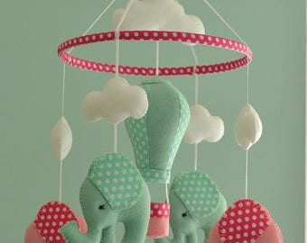 Pale Mint Green & Pink Baby Mobile -  Elephant Mobile - Felt Mobile - Nursery Mobile - Baby Shower Gift - Hot Air Balloon - Made To Order