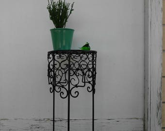 Small Black Wrought Iron Plant Stand