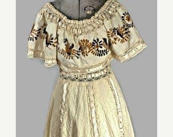SALE 1960's Cotton Dress. Vintage Boho Peasant Floor Length Dress Size S