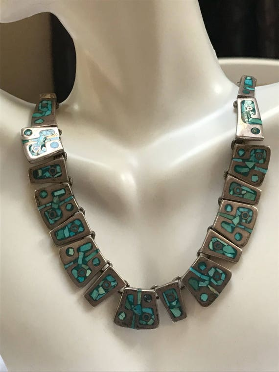 "Taxco Turquoise Sterling Necklace 21.5"" 925 Silver Mexico Vintage Jewelry Southwestern Birthday Anniversary Christmas Gift Boho"