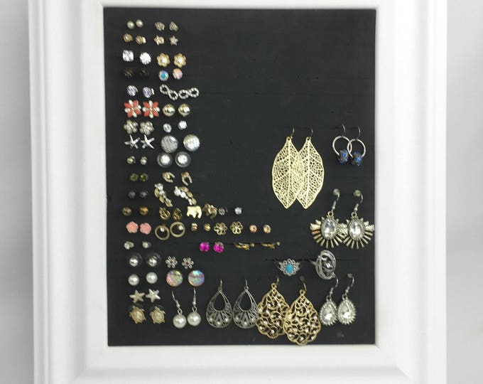 Framed Earring Holder - 8x10 White Jewelry Organizer - Jewelry Display