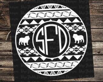 Aztec Bulldog Football Monogram SVG, JPG, PNG, Studio.3 File for Silhouette, Cameo, Cricut, Cut File