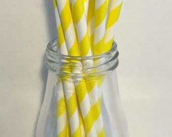 Yellow Stripe Paper Straws, Mason Jar Straws, Party Decor, Straws