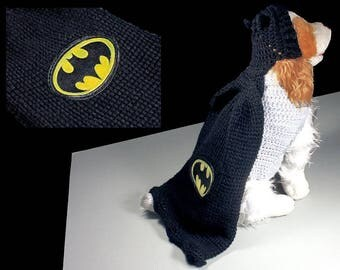 Batman Pet Costume, Halloween Costume, Dog Costume, Cat Costume, Superhero Costume, Crochet, Photo Prop, Fits 10 to 20 lb. Pet