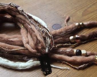 Handmade Felt Hair Falls, Locks, Dreadlock Extensions,Natural Cream & Browns, Merino Wool,Ooak.