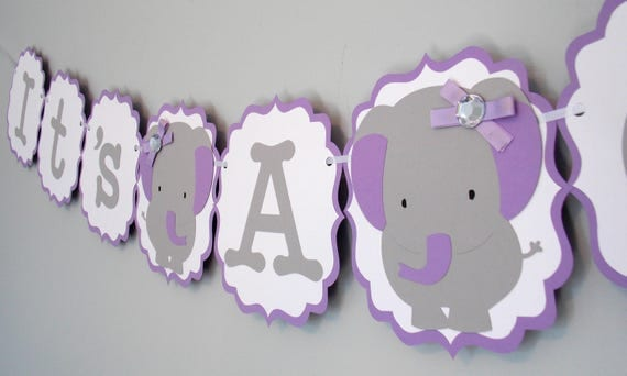 It's A Girl Grey Purple Baby Elephant Banner/ Baby Shower
